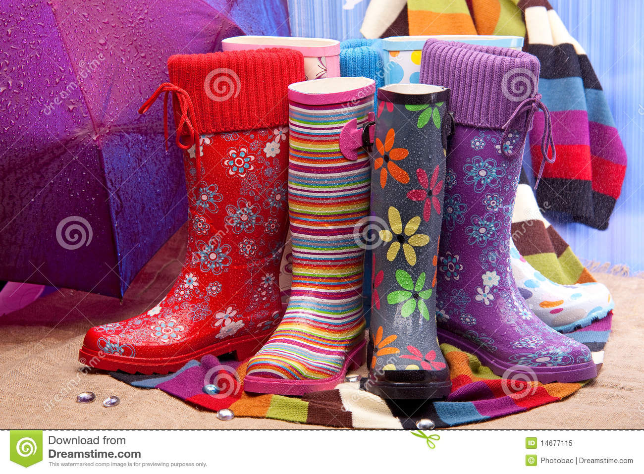Colorful female rubber boots