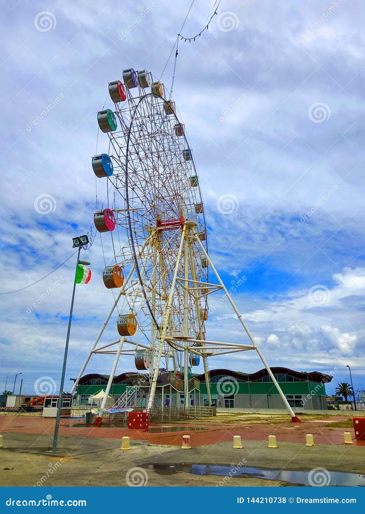 The colorful ferris wheel as a landmark in Pescara, Abruzzo, Italy