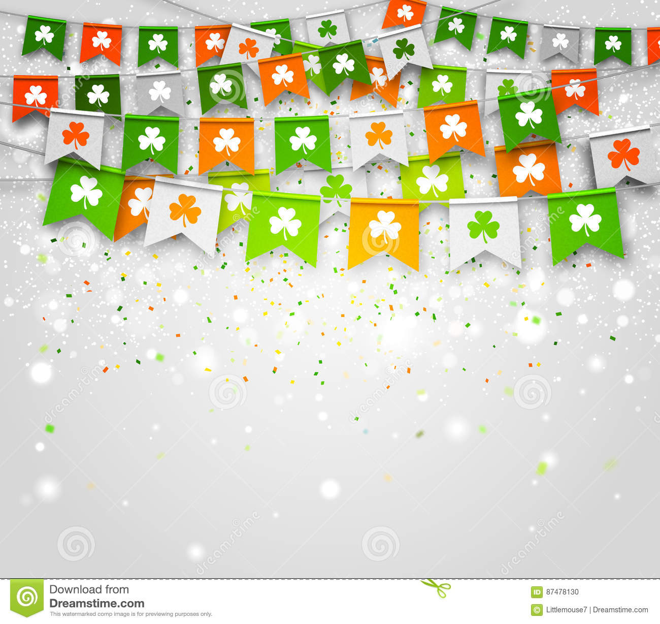 Colorful festive bunting with clover on light background. Saint Patrick`s Day