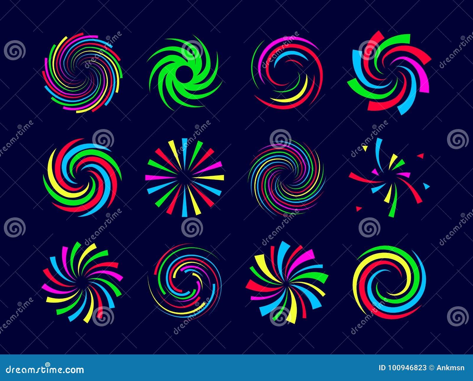 Colorful festive spirals twist and swirls fireworks set