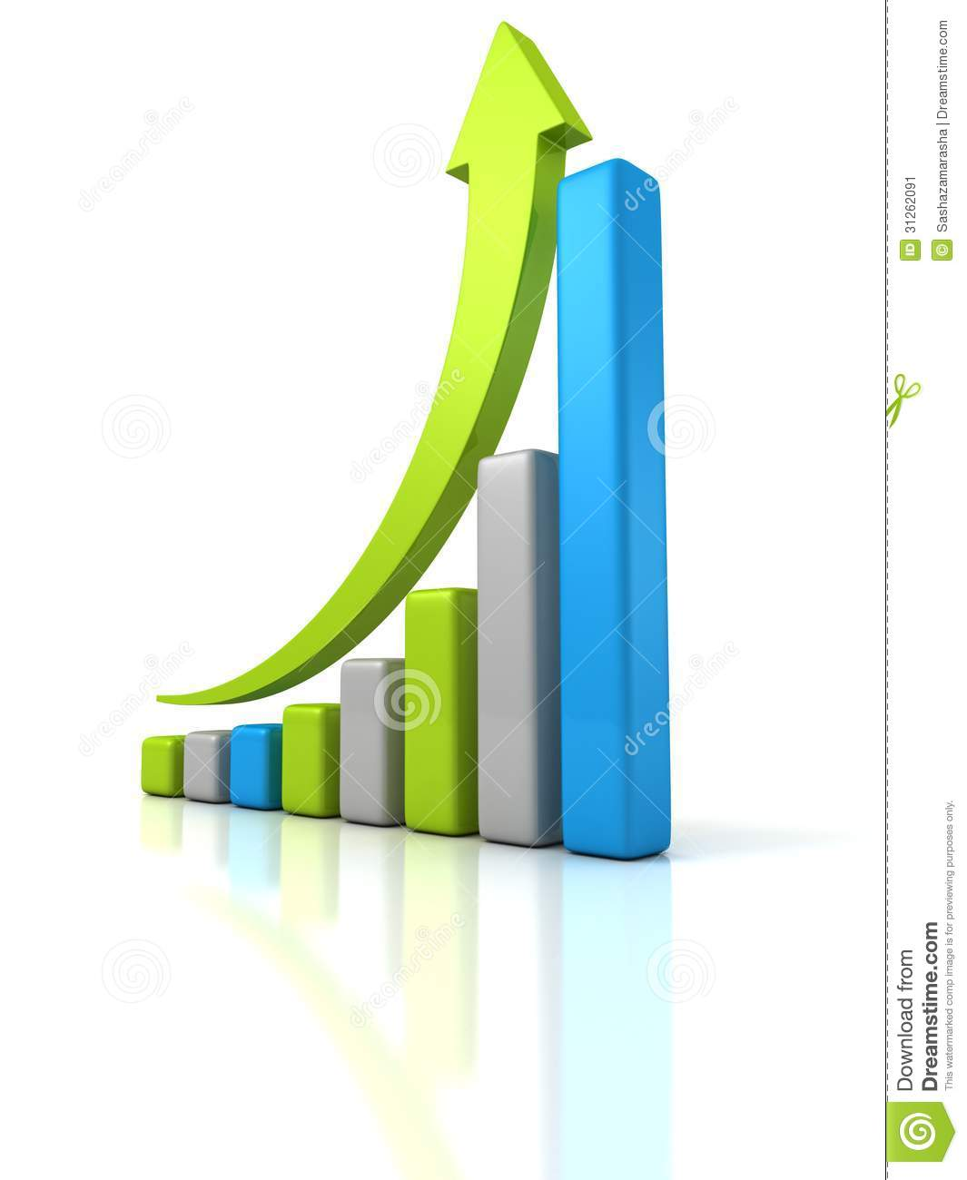 Finance Graph: Colorful Financial Bar Graph With Growing Arrow Up Stock