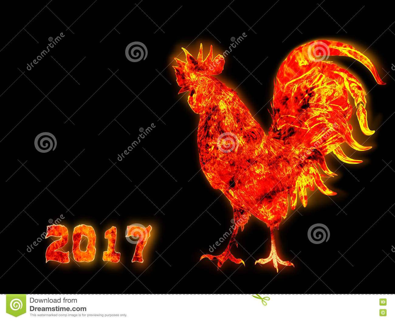 Colorful Fire rooster. symbol of the Chinese New Year. Fire bird, red cock. Happy New Year 2017 card