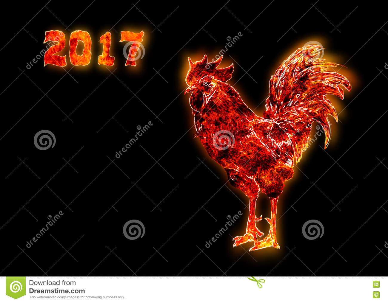 . Symbol Of The Chinese New Year. Fire Bird, Red Cock. Happy New Year ...