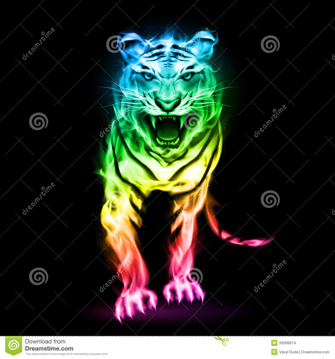 Colorful Fire Tiger Stock Images Image 33566614