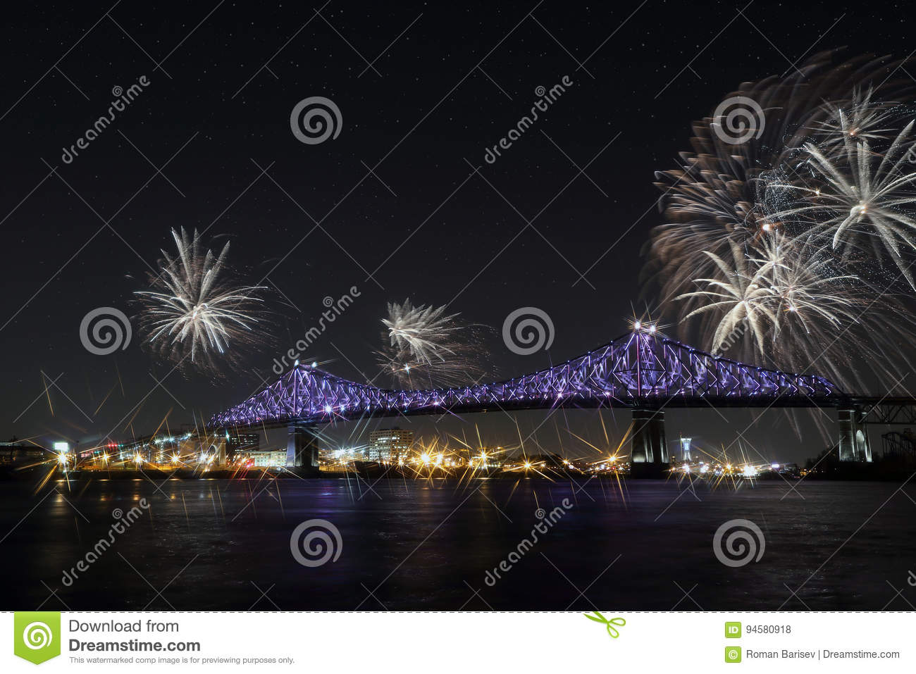 Colorful fireworks explode over bridge. Montreal's 375th anniversary. luminous colorful interactive Jacques C