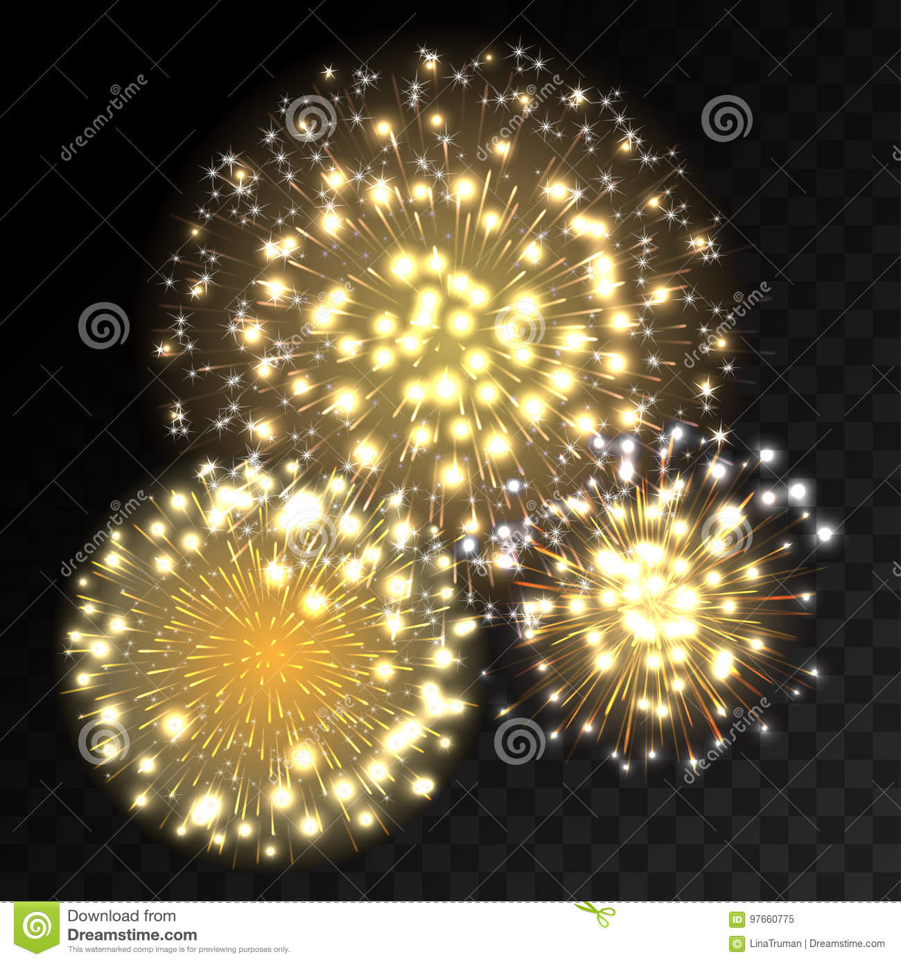 colorful fireworks explosion on transparent background