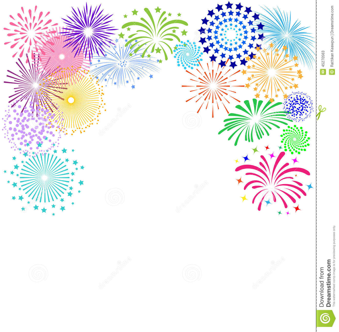 Colorful fireworks frame on white background for celebration party