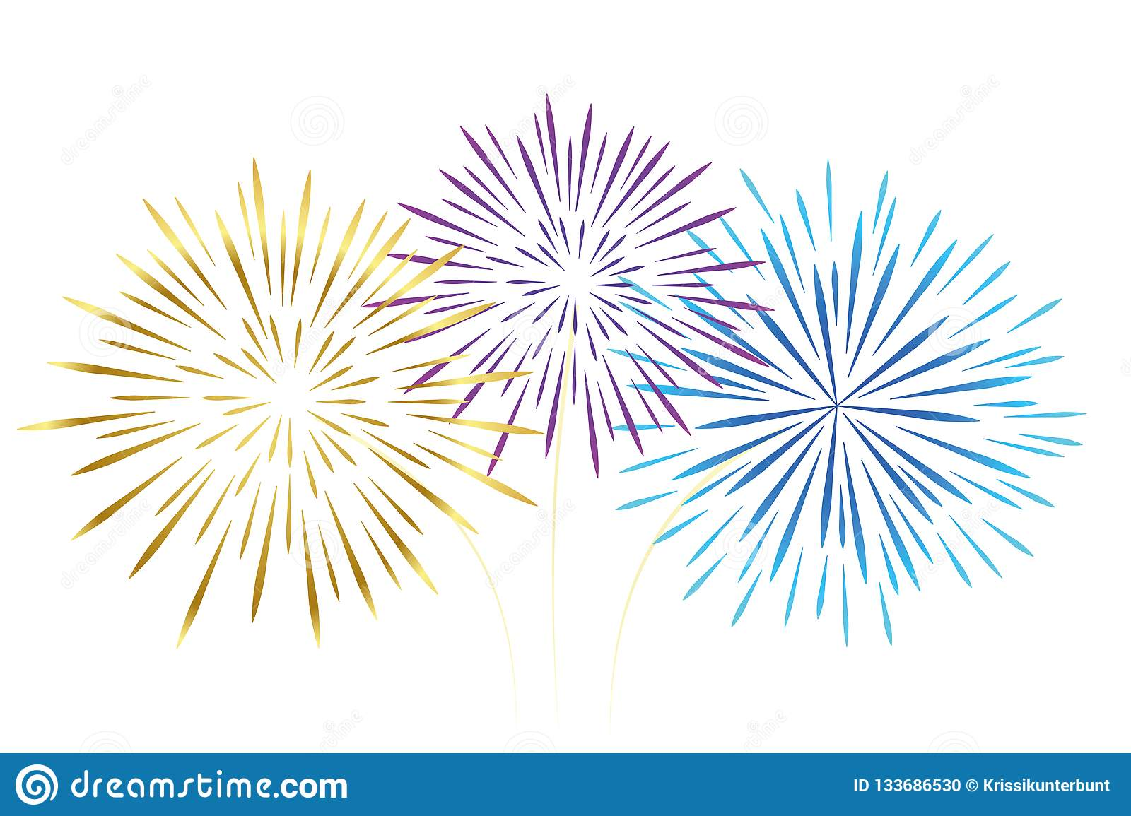 Colorful fireworks gold pink and blue isolated on white background