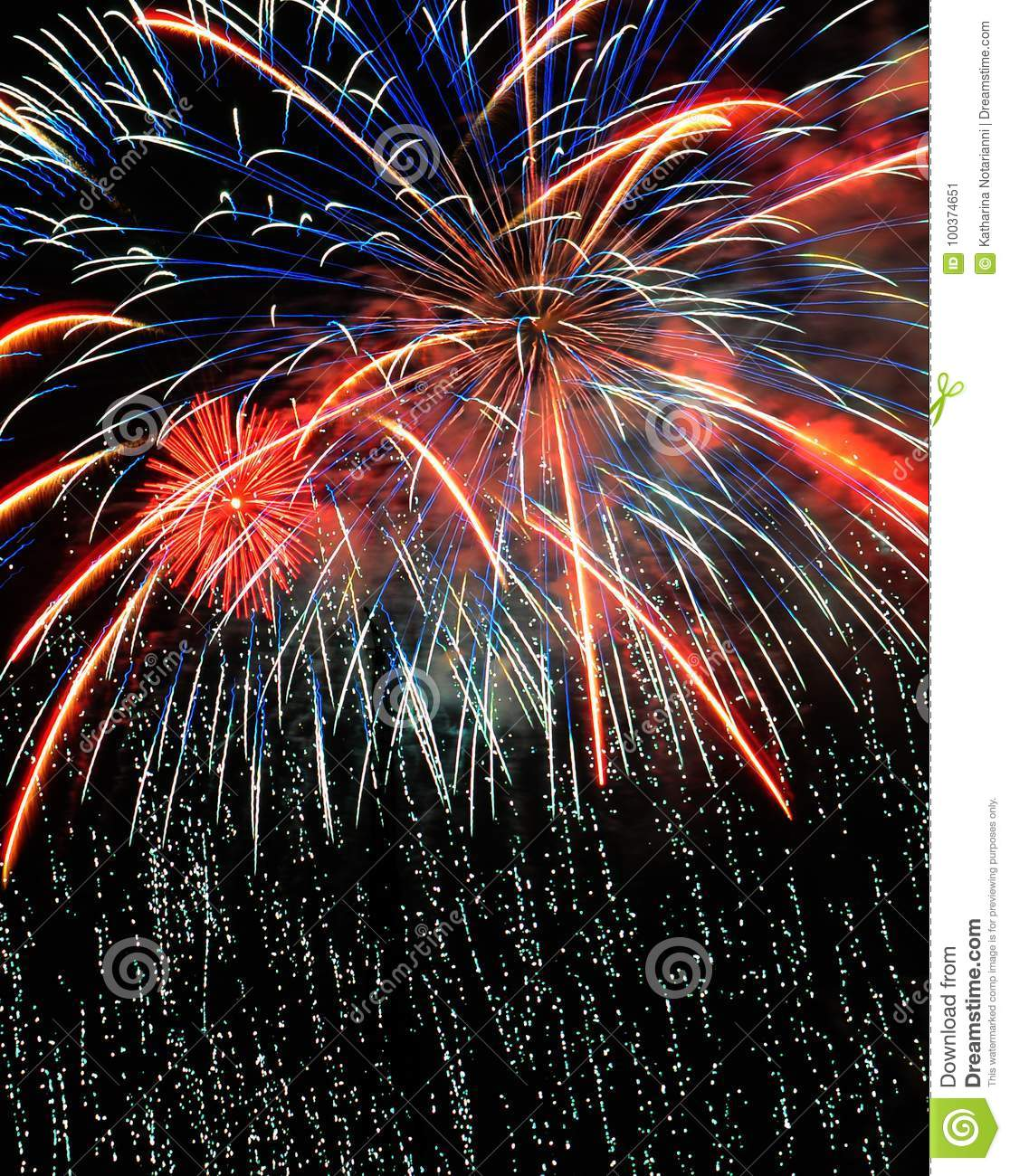 Colorful Fireworks in Night Sky