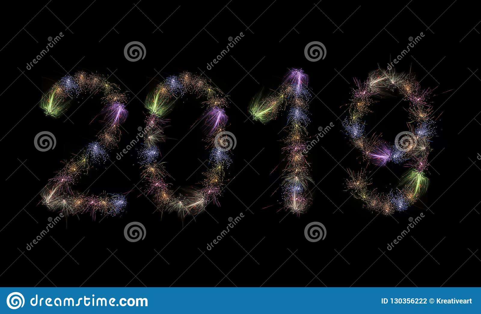 2019 Colorful Fireworks Text High Resolution
