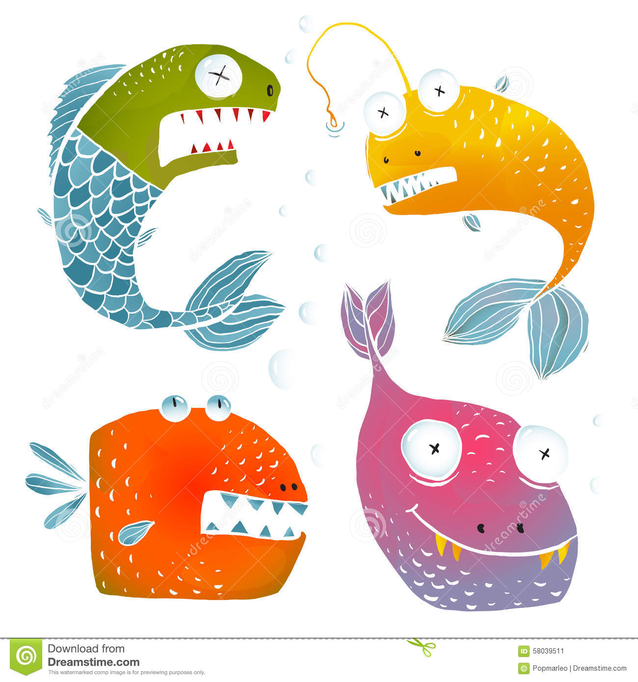 Colorful Fish Characters Cartoon Collection Stock Vector