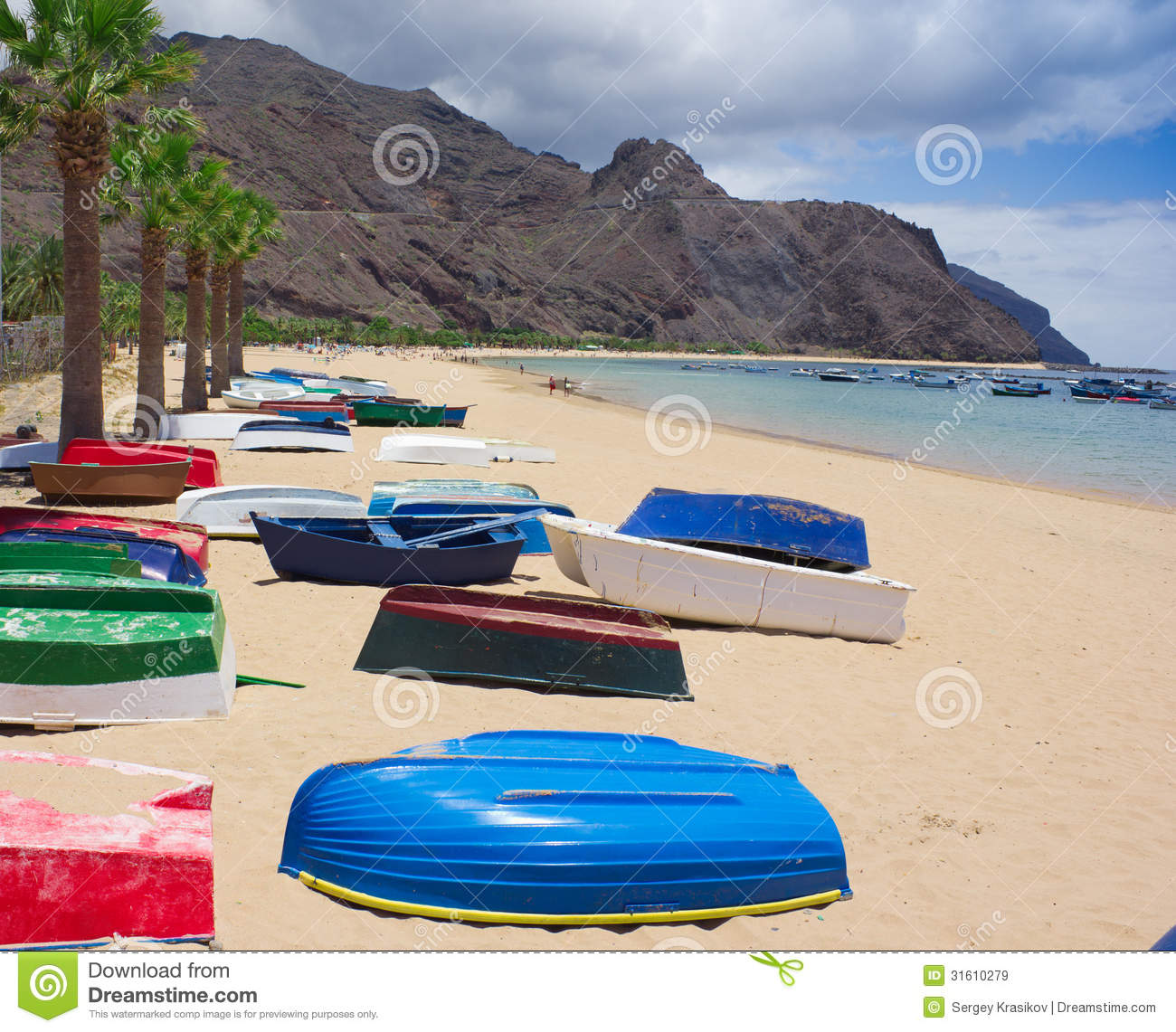 Colorful Fisher Boats On Beach Stock Photo