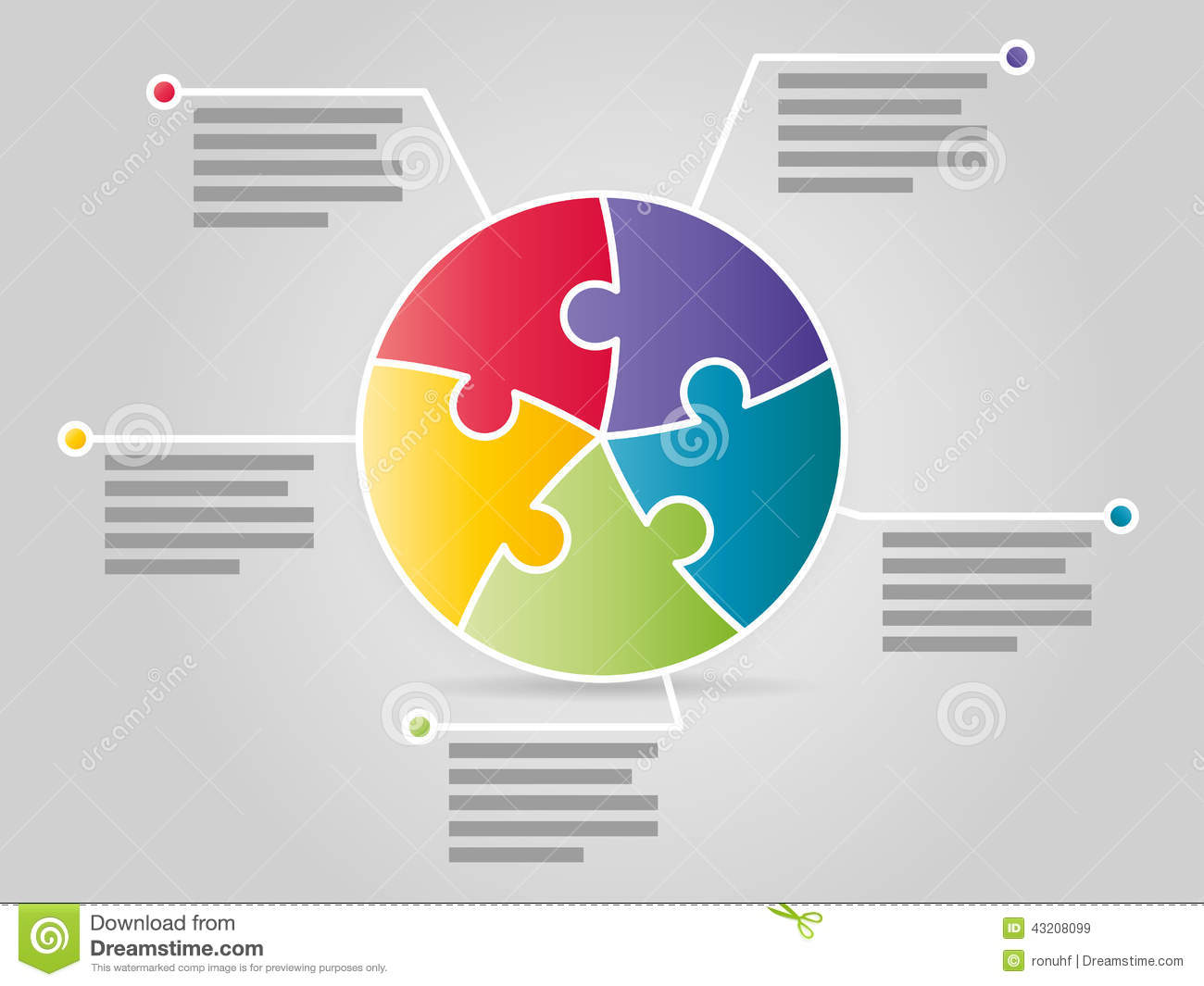 Colorful Five Sided Circle Puzzle Presentation Infographic Template Communication Comparison
