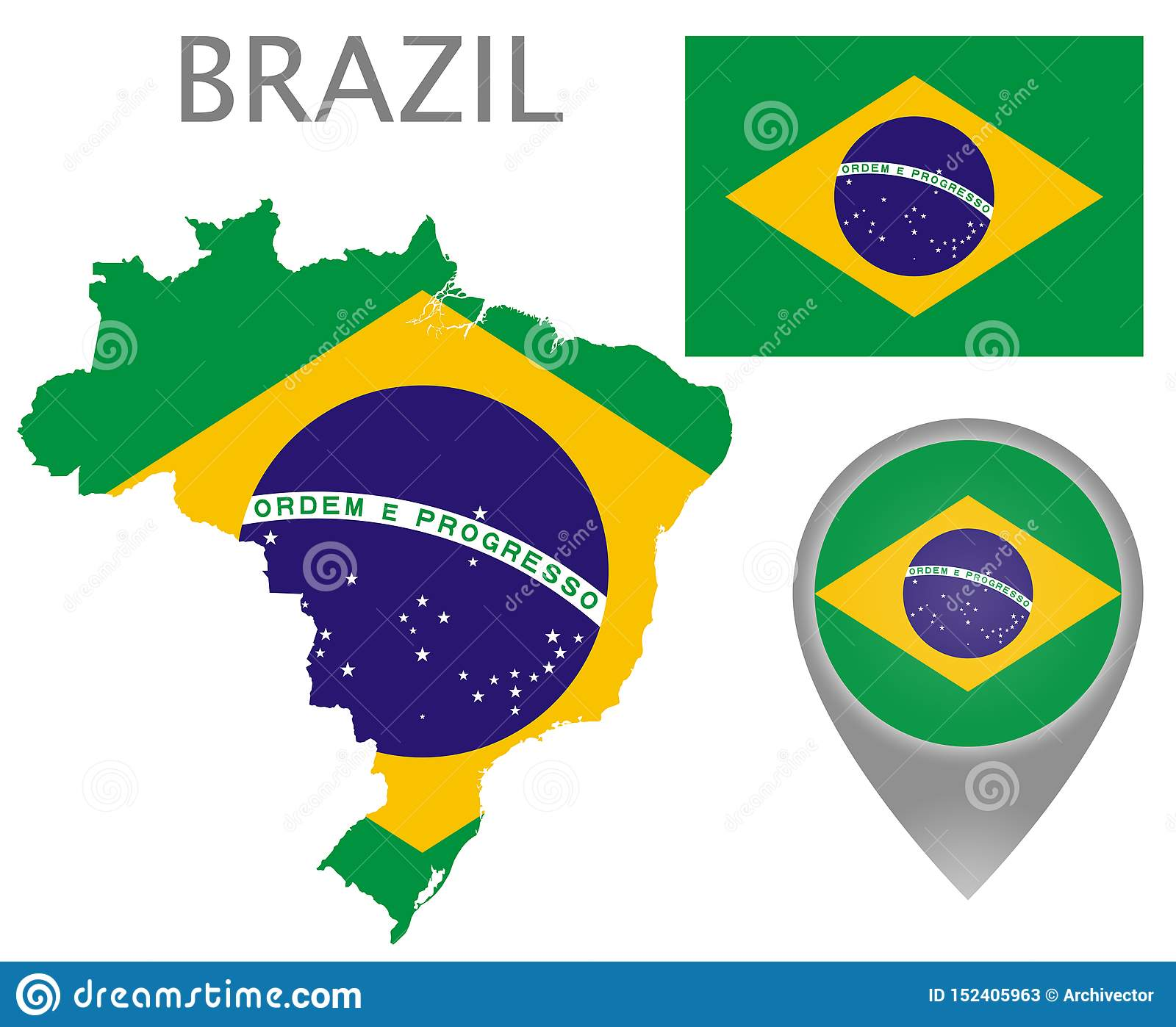Brazil flag, map and map pointer