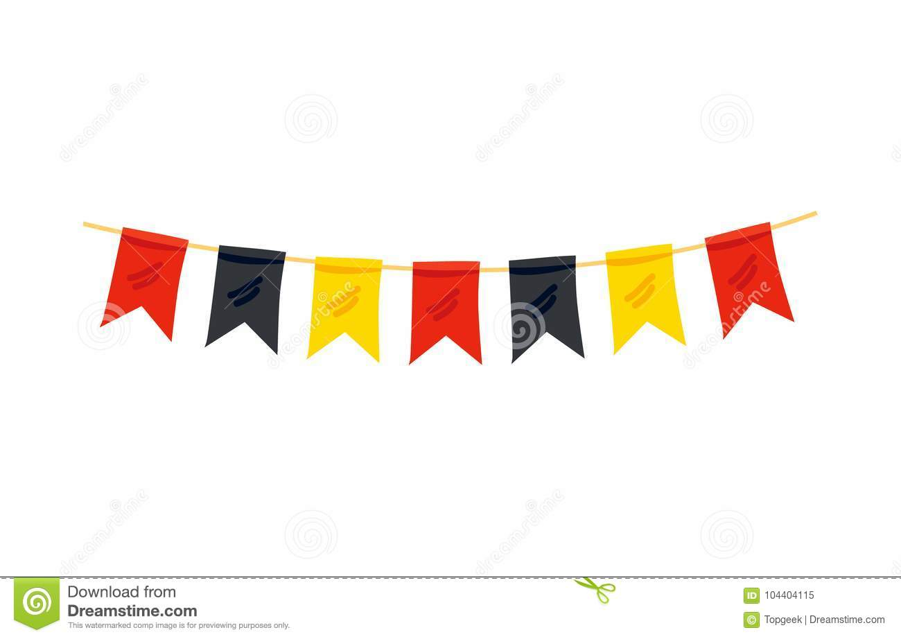 colorful flags in color of german flag decoration stock vector
