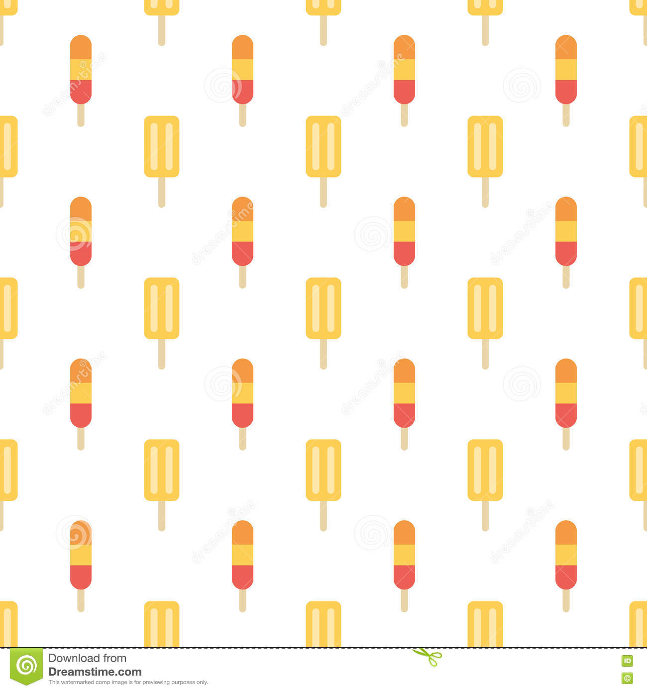 Sweet Ice Cream Flat Colorful Seamless Pattern Vector: Colorful Flat Design Ice Cream Seamless Pattern Background