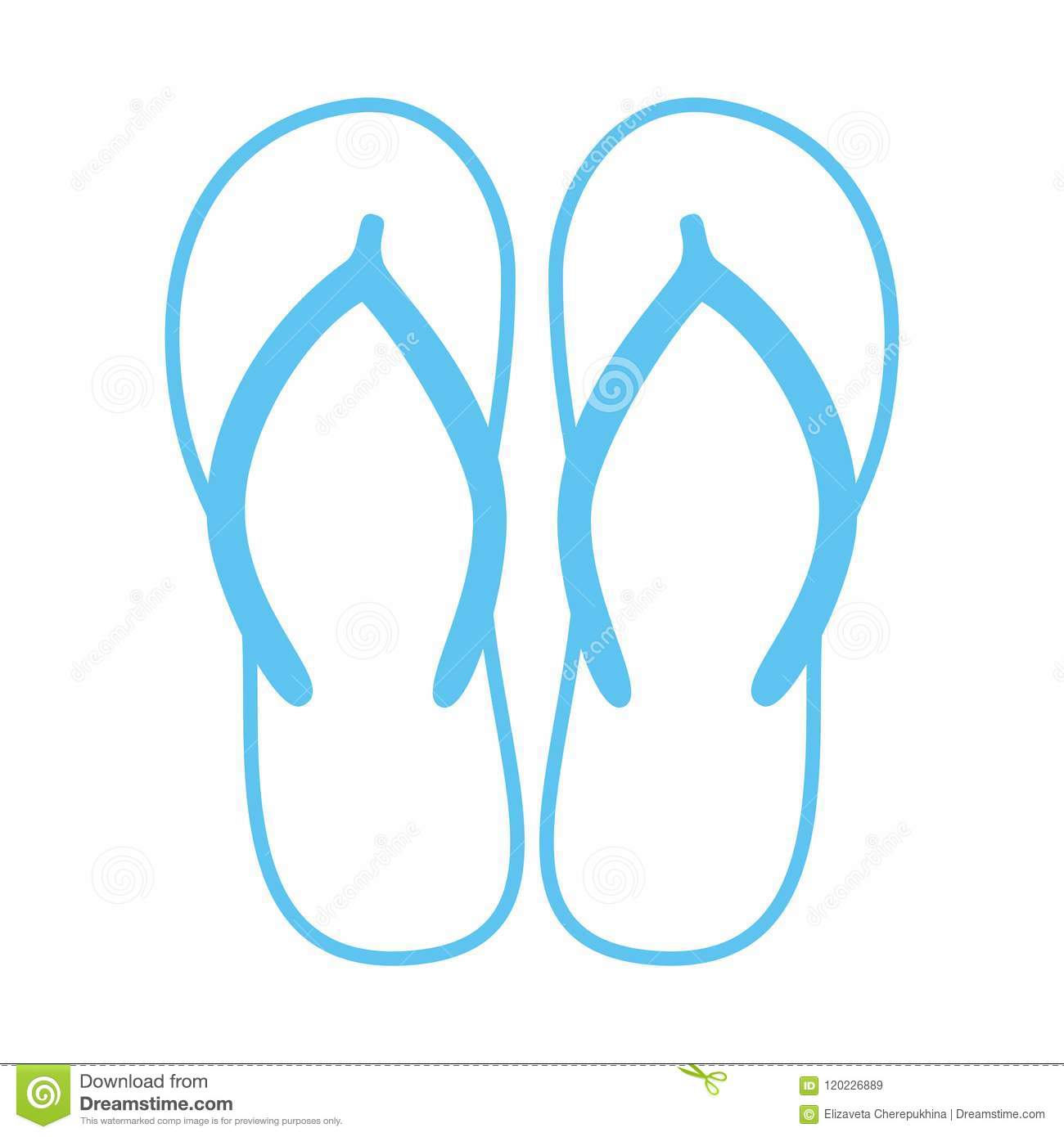 7ac95771bbffd4 Colorful flip flops. Beach slippers. Sandals. Vector icon isolated on white