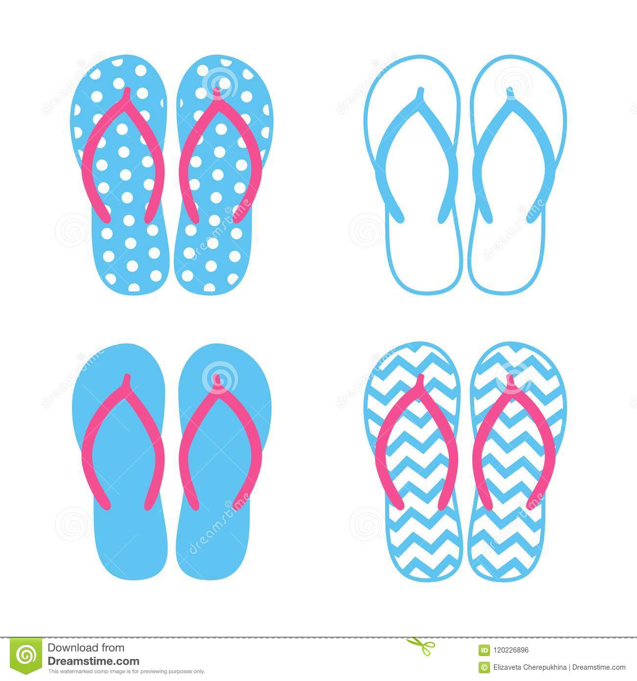 00157c4da Royalty-Free Vector. Colorful flip flops. Beach slippers. Sandals. Vector  icon isolated on white