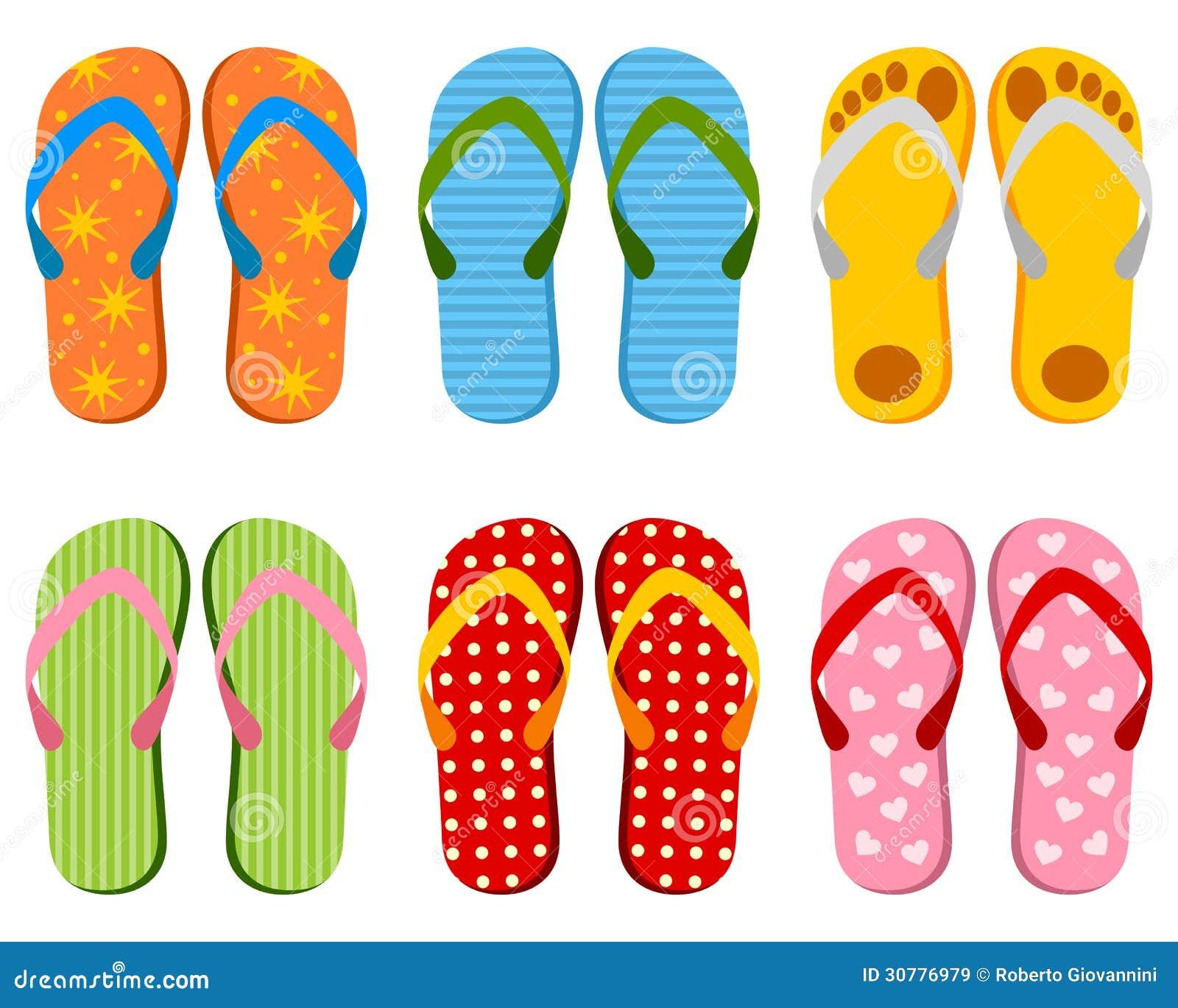 44ca0de86189 Colorful Flip Flops Collection Stock Vector - Illustration of shoes ...