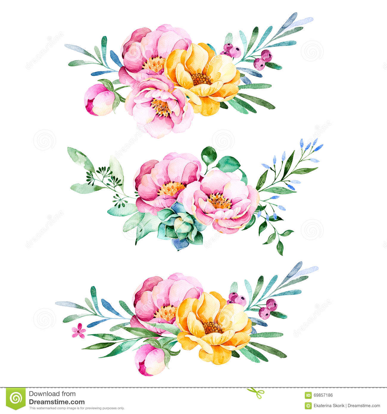 Colorful floral collection with roses,flowers,leaves,succulent plant ...