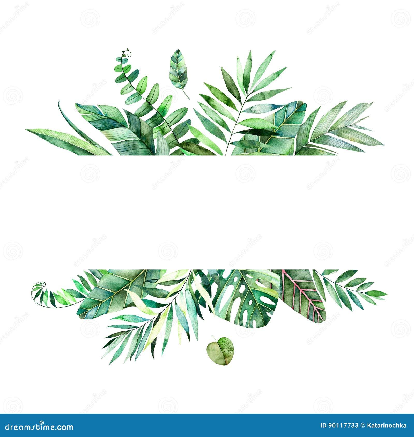 tropical leafy collection handpainted watercolor floral Bridal Bouquet Clip Art Clip Art Wedding Dress