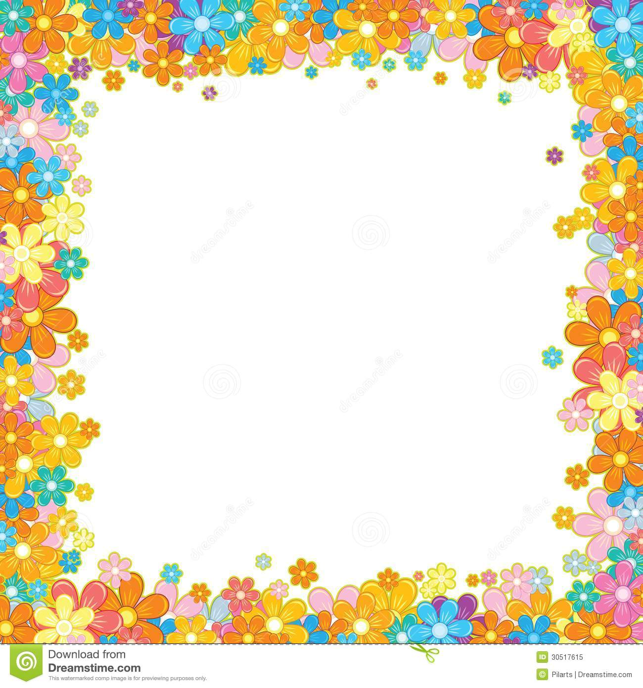 White Backgrounds With Colorful Borders Colorful Floral...