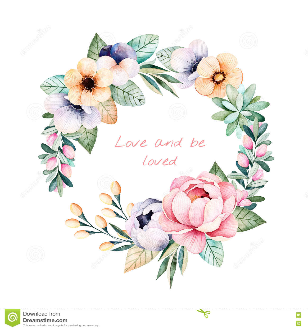 Colorful Floral Pastel Template Card With Flowers Stock ...