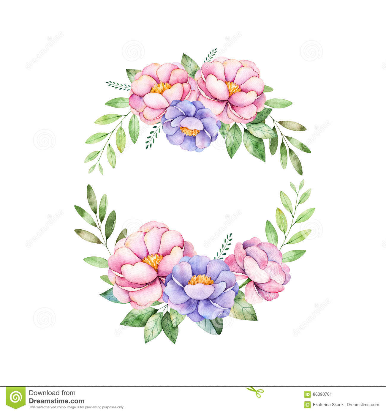 Colorful Floral Pastel Wreath With Peony,flowers,leaves, Leaves ...