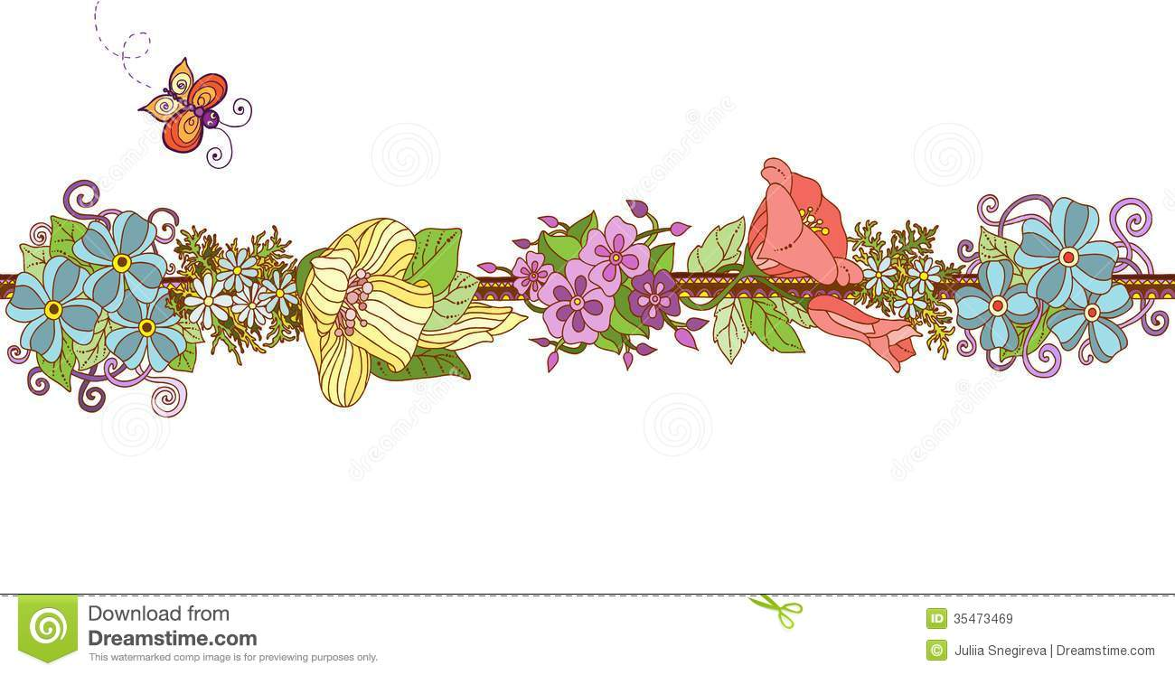 Colorful Floral Ribbon Isolated Royalty Free Stock Images