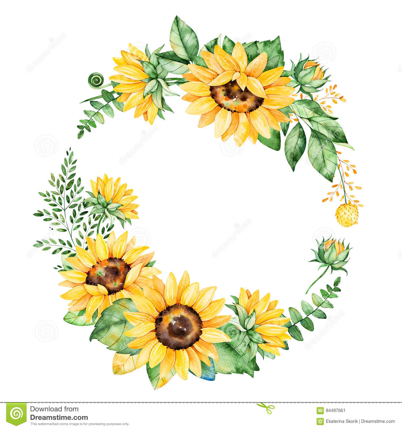 Colorful Floral Wreath With Sunflowersleavesfoliagebranchesfern Leaves And Place For Your