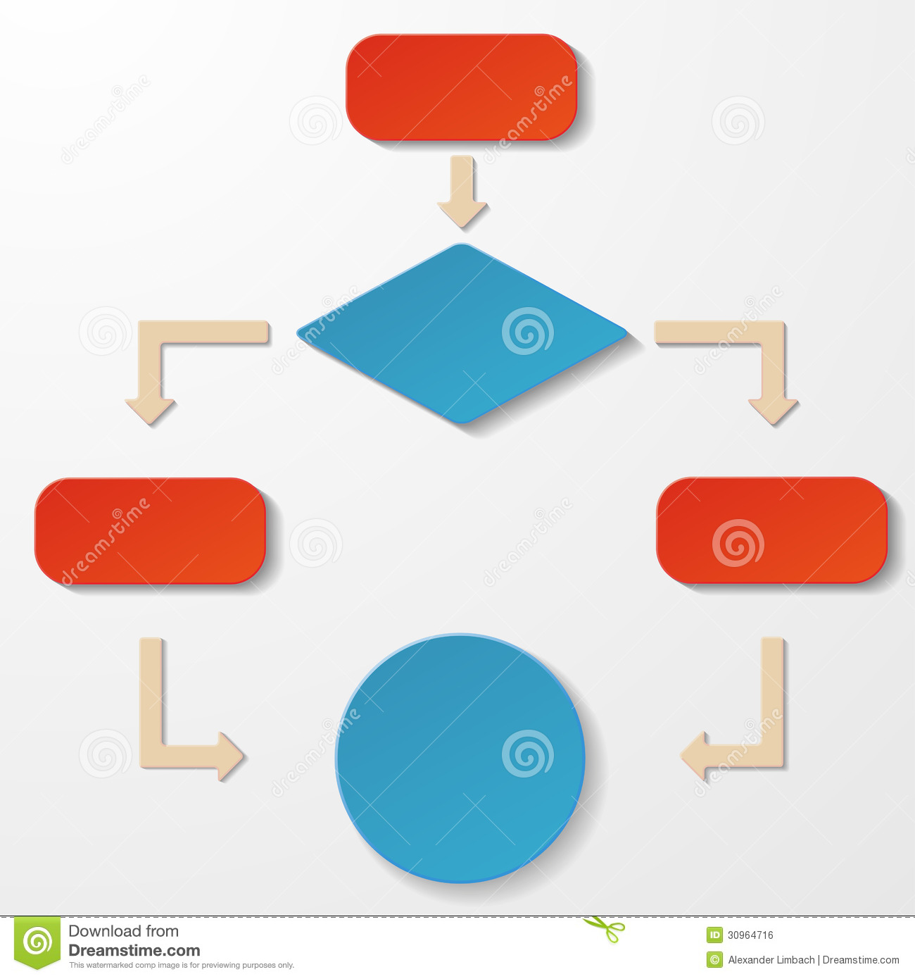 Colorful Flowchart Paperlabels White Background