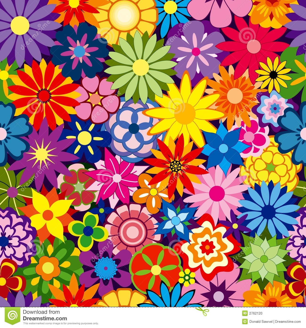 Colorful Flower Background Stock Vector. Illustration Of