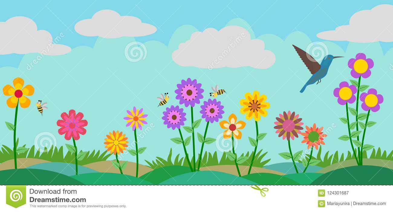 Colorful Flower, Bees And Bird At Garden Vector Illustration