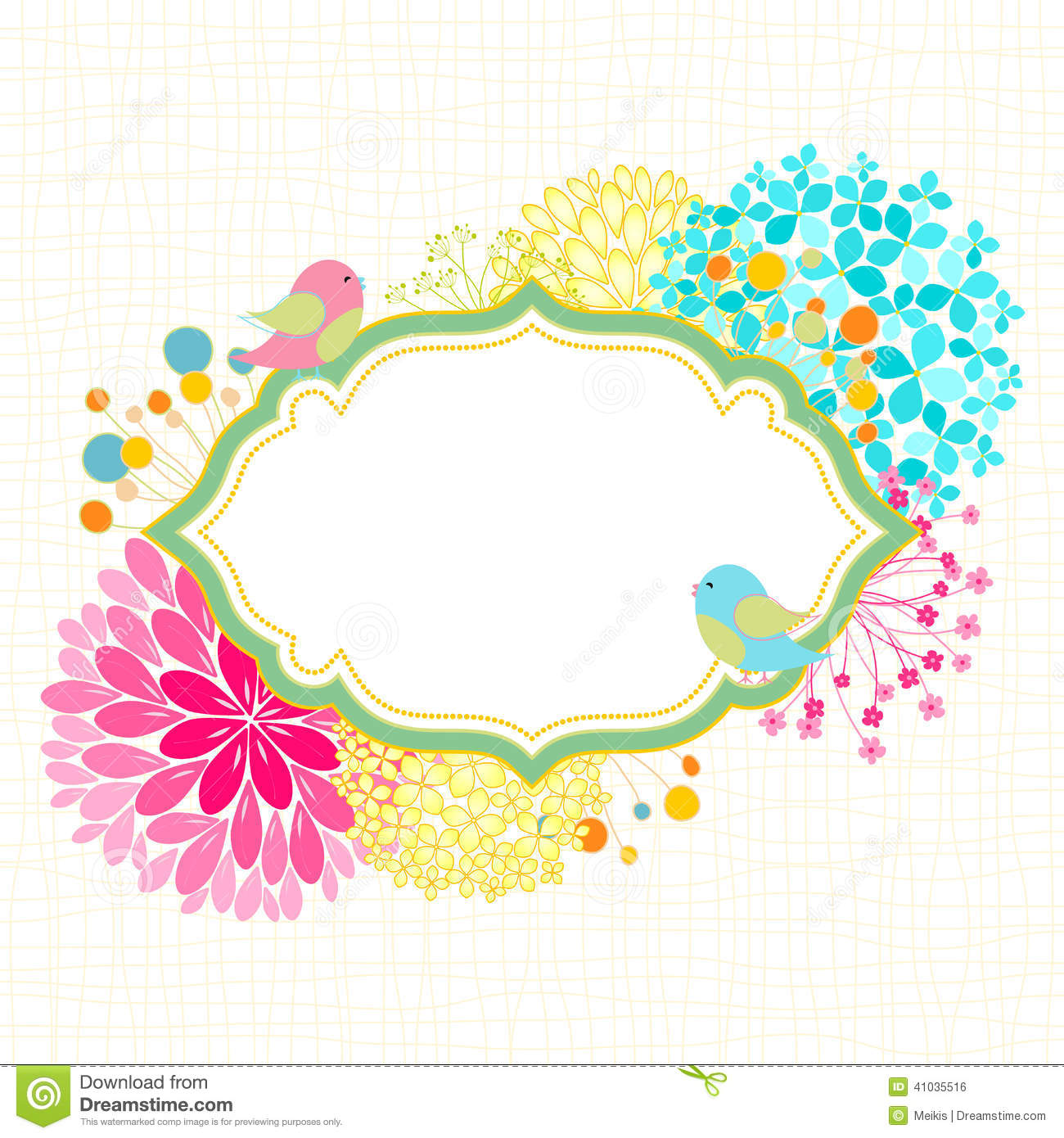 Colorful Flower Bird Garden Party Invitation Stock Vector Image