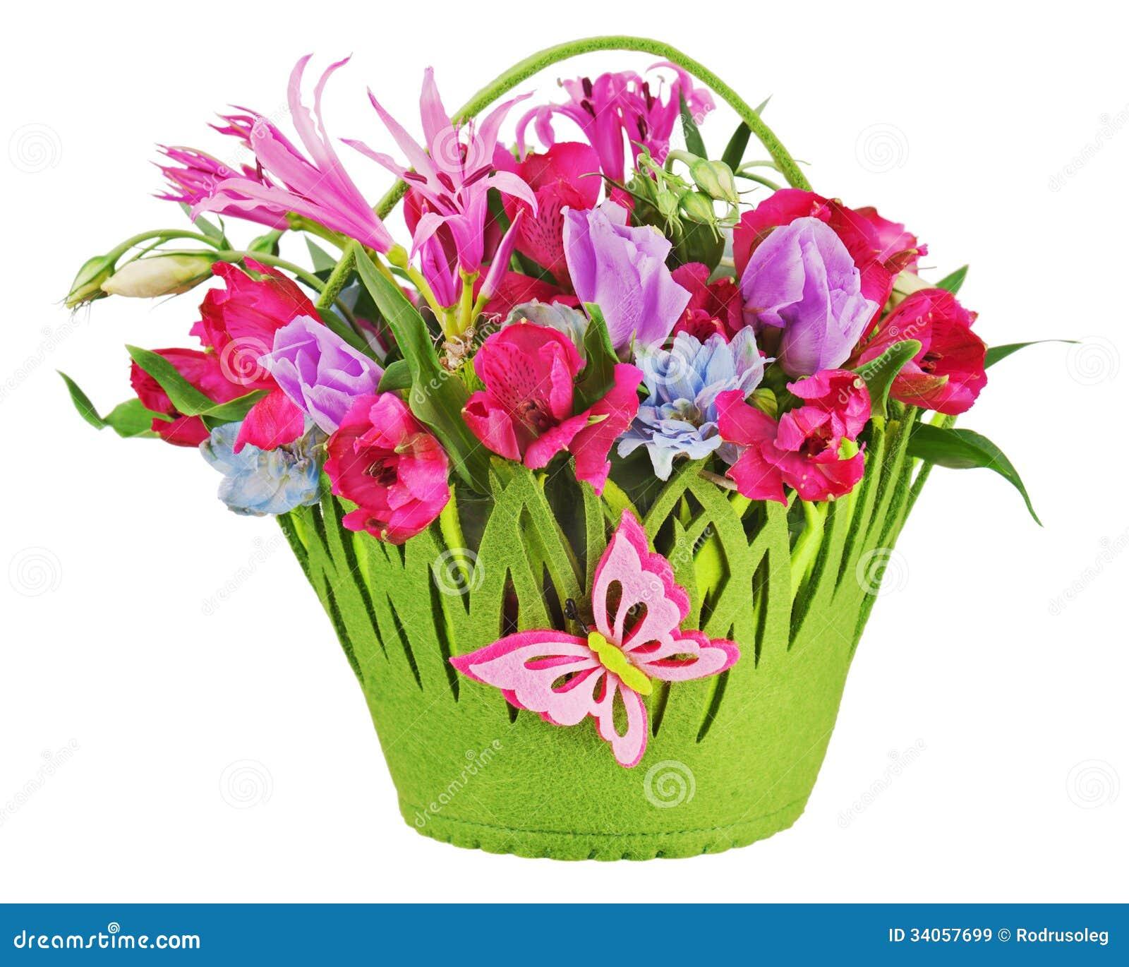 Basket Flower Decoration Colorful Flower Arrangement In Basket Royalty Free Stock