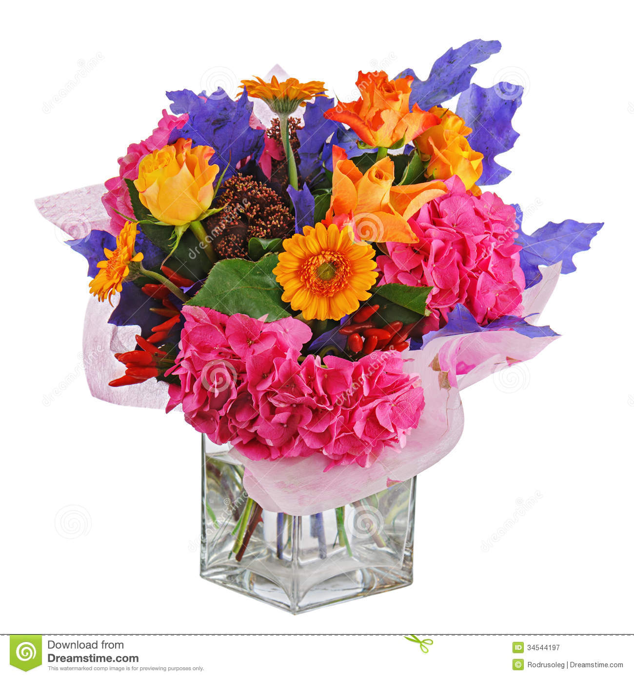 Colorful Flower Bouquet In Vase Isolated On White Background. Stock ...