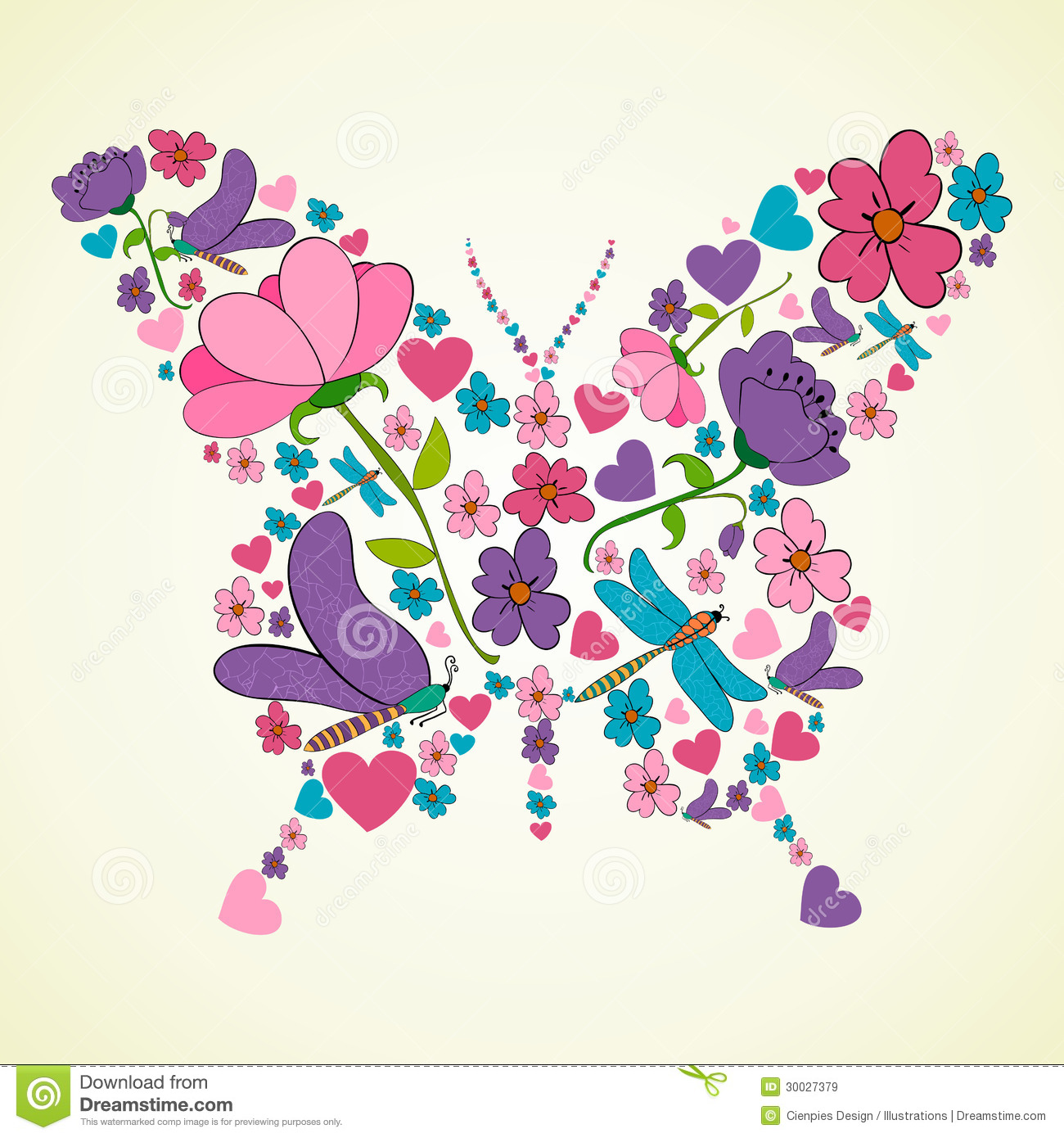 Beautiful Spring Flowers Butterfly Shape Royalty Free