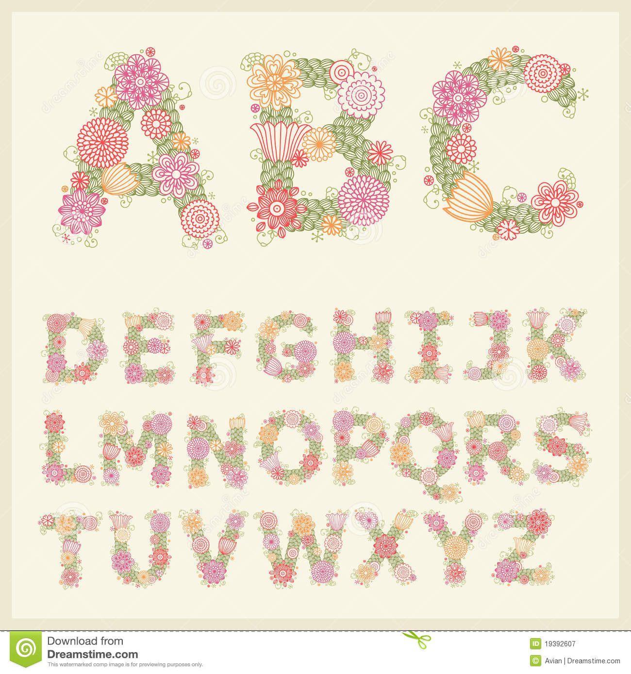 colorful flower font stock vector image of character 19392607