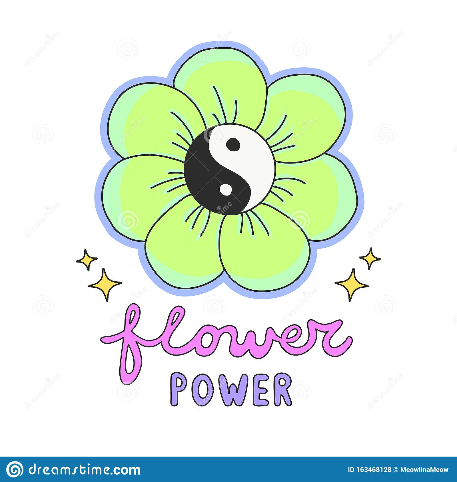 Colorful Flower Power Lettering With 60s Hippie Style Ying Yang Daisy Flower Stock Vector Illustration Of Summer Power 163468128