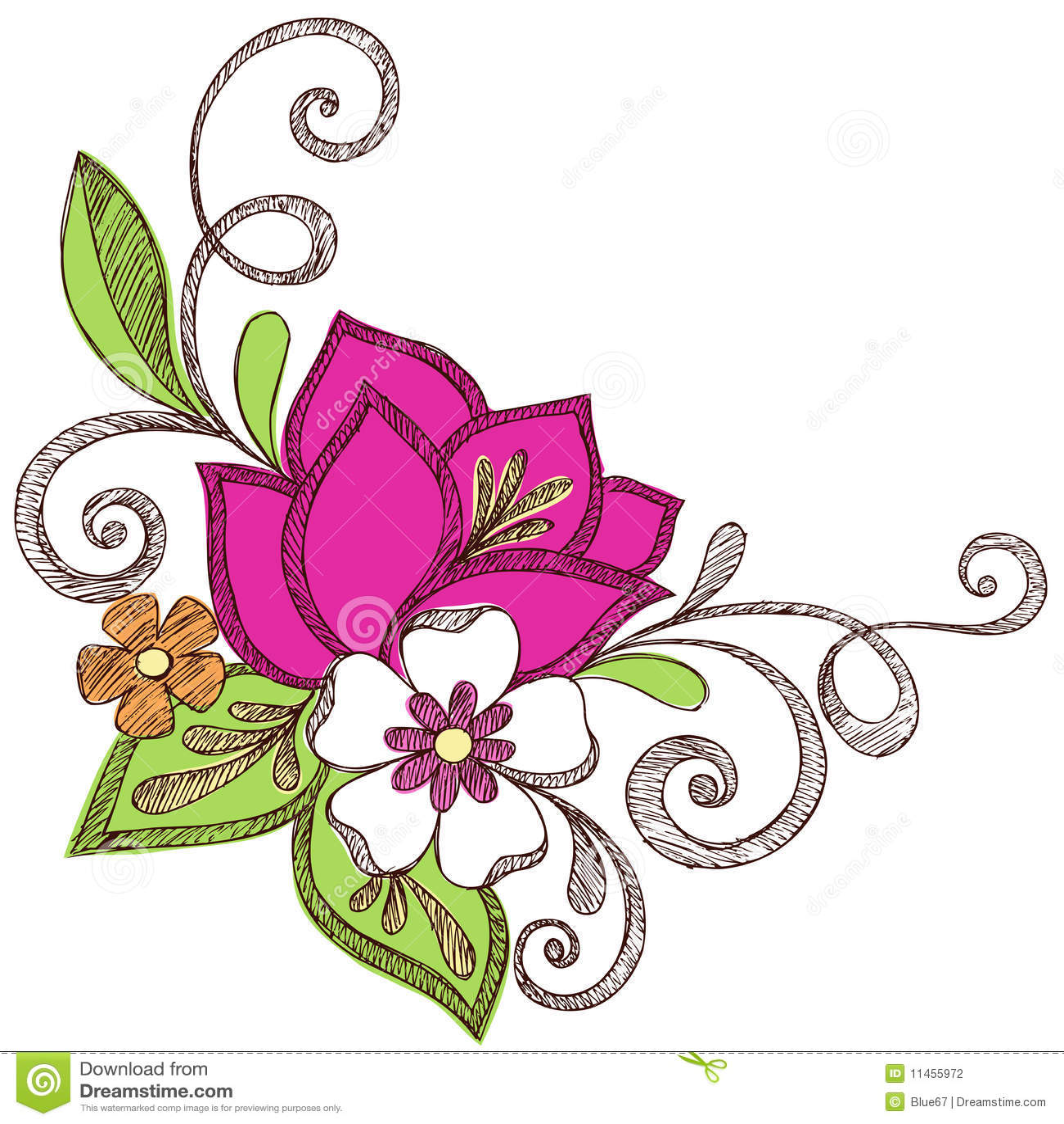 Flower Dibujo: Colorful Flower Sketchy Notebook Doodles Stock Vector