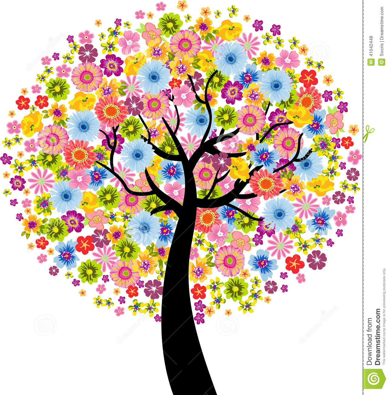 colorful flower tree stock vector image 41042448