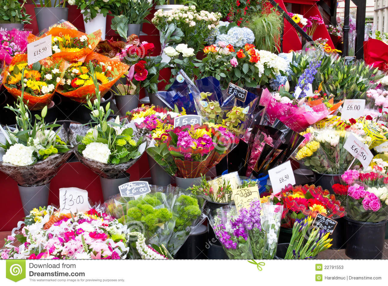 Colorful Flowers In A Flower Shop Stock Image Image Of Colorful