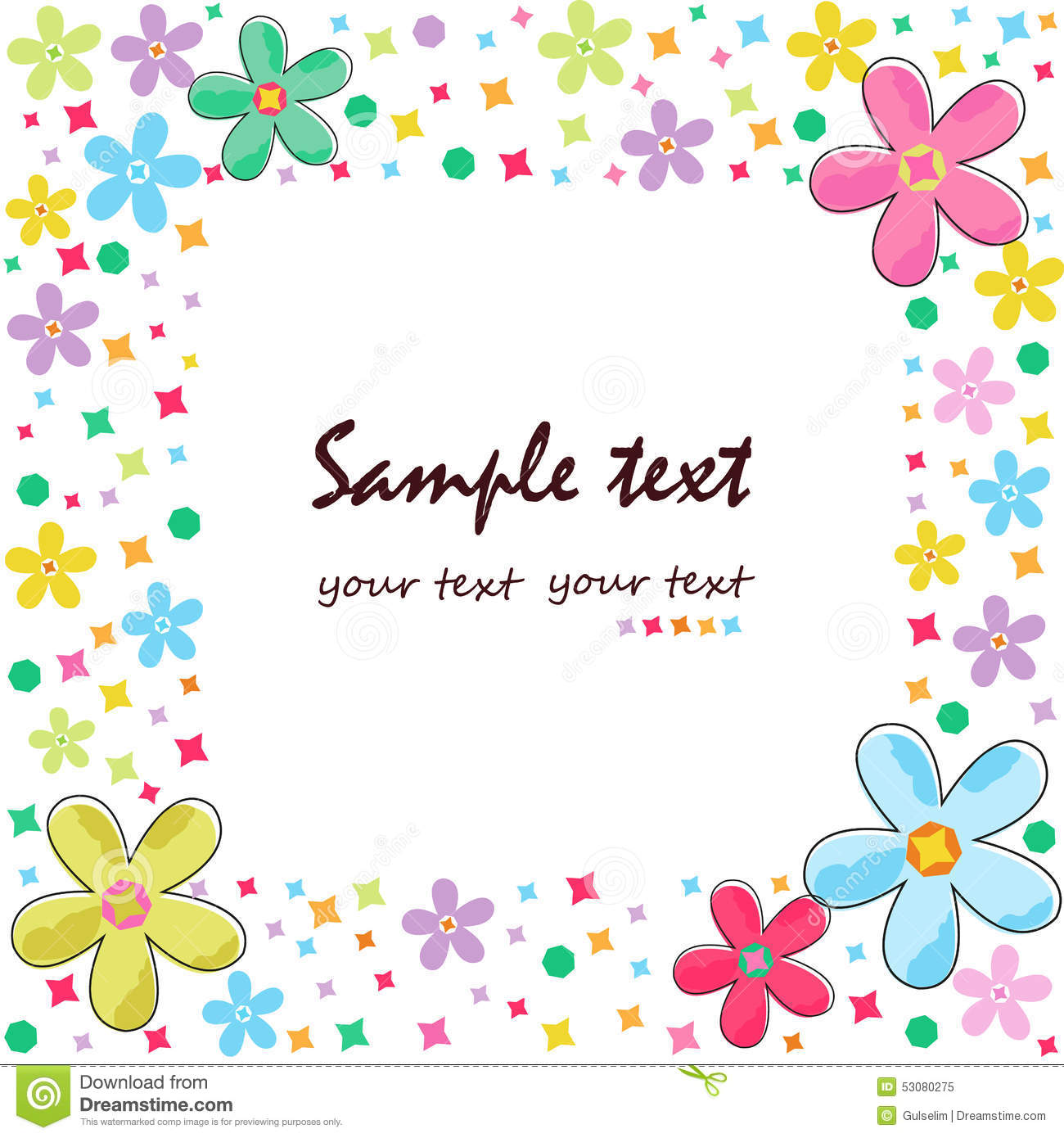 colorful flowers greeting card border vector stock vector
