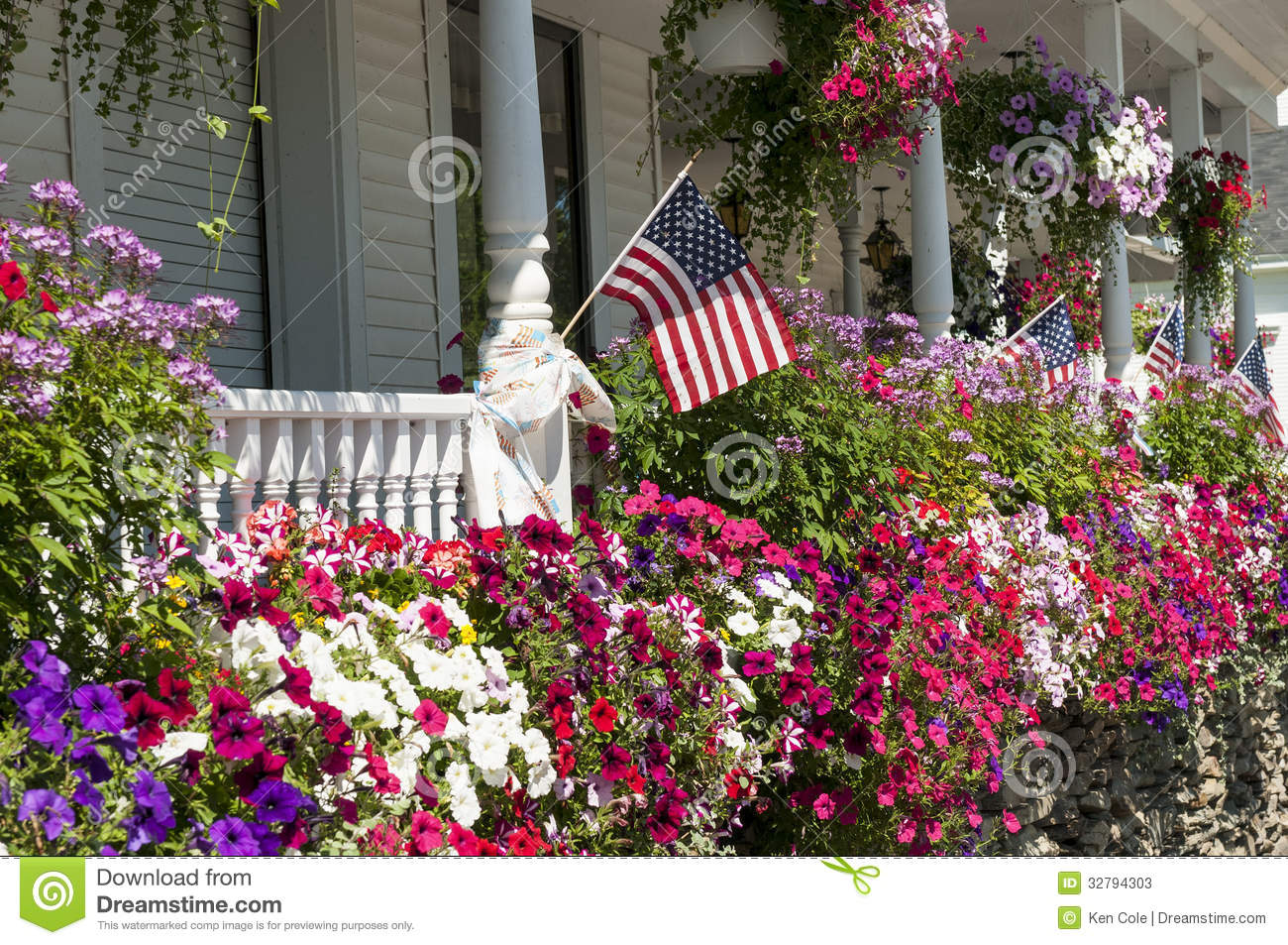Flags And Flowers On House Porch Stock Photos Image