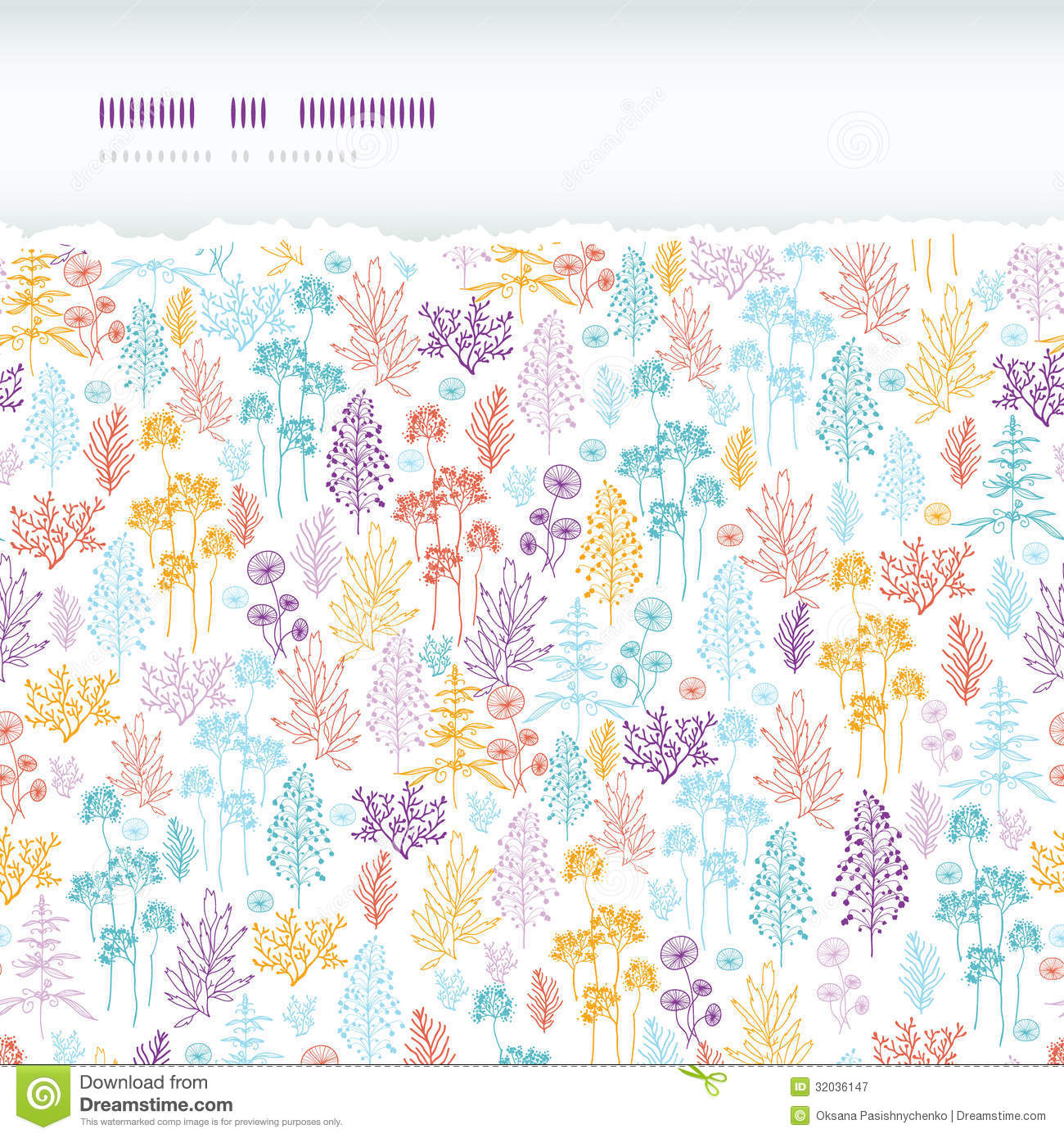 Colorful Flowers And Plants Horizontal Torn Cartoon Vector