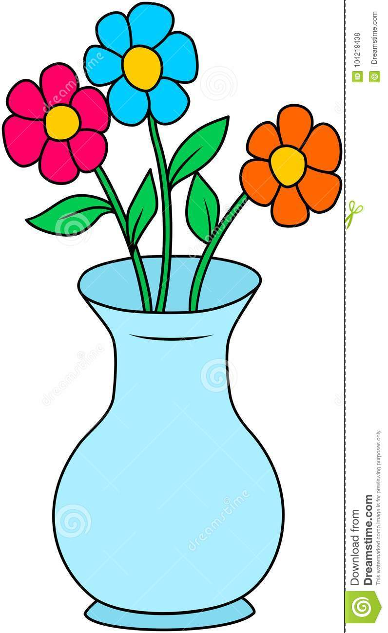 Colorful Flowers In A Vase. Stock Vector - Illustration of ...