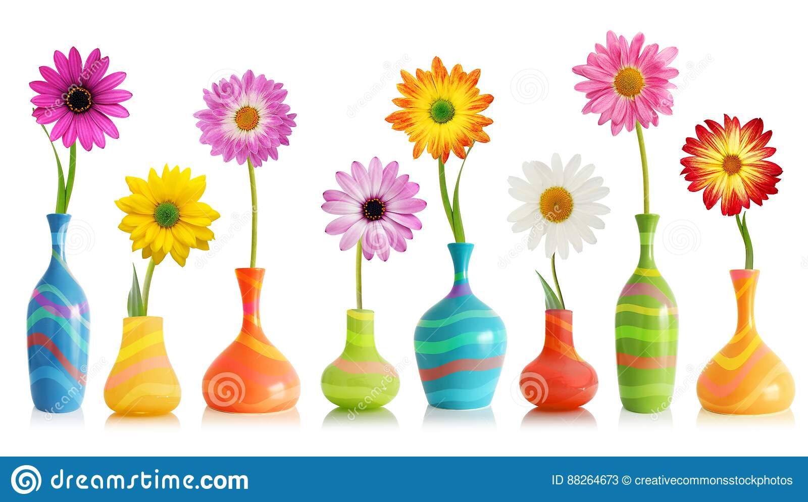 Free Public Domain Cc0 Image Colorful Flowers In Vases Picture
