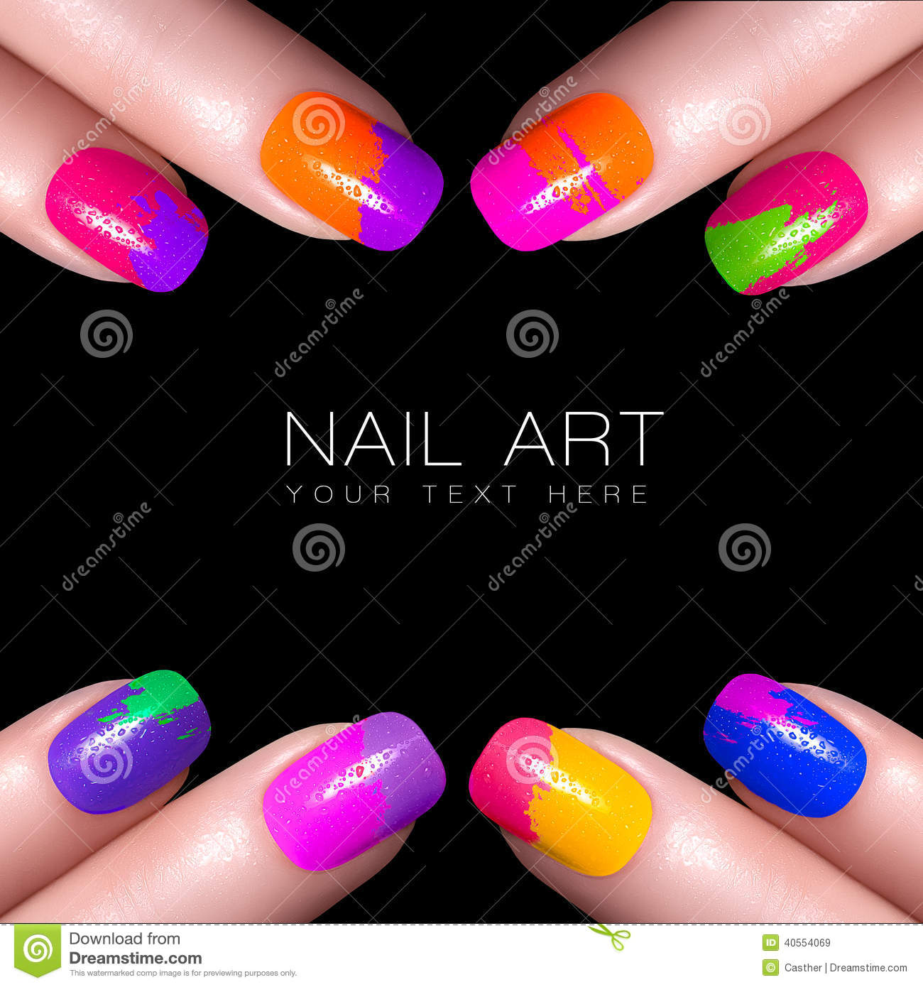 Girl with fashion hairstyle and colorful nail polish stock photo colorful fluor nail polish art nail with example text royalty free stock images prinsesfo Images