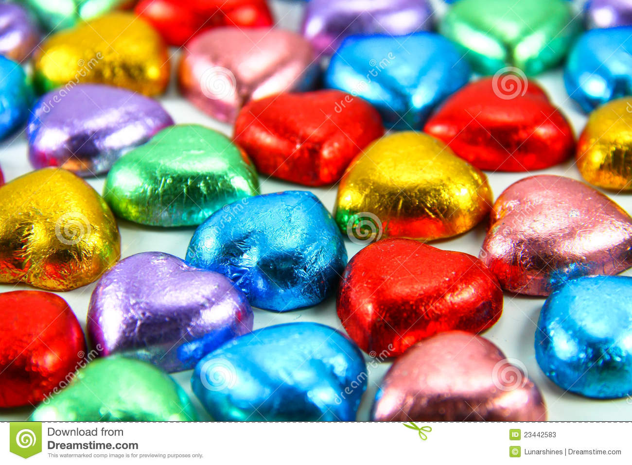 Colorful Foil Wrapped Chocolate Hearts Stock Image Image