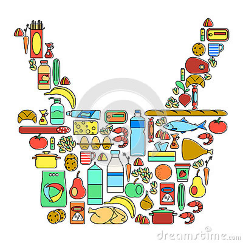 Colorful Food Drinks And Household Cleaning Products Linear Icons
